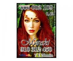 910 312 450 Vidente Real sin cartas visa 4€ 15min.